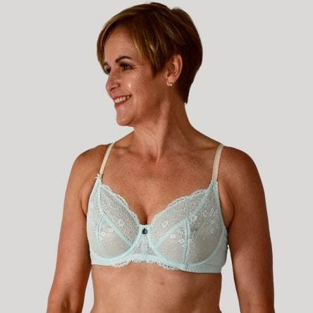 Full Lace Cup Peony Bra - Lite Support - Glacier