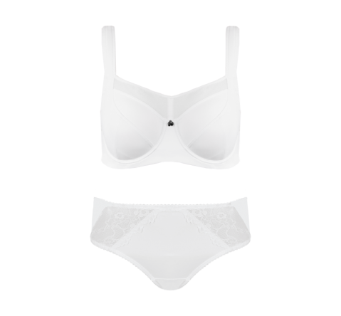 Active White Floral Lace Midi Brief Set
