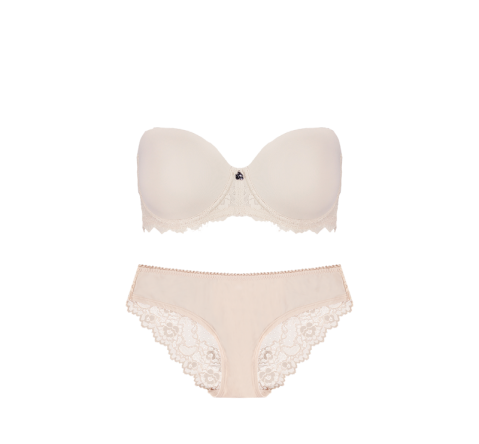 Strapless Bikini Brief Set Cafe Latte