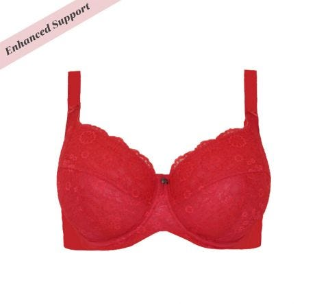 Enhanced Support Contrast Lace Bra Cherry