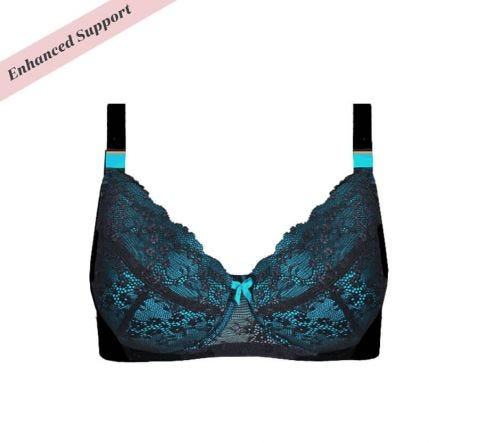 Enhanced Support Contrast Lace Bra Black Peacock