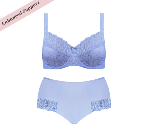 Enhanced Support Dahlia Lace Set Blue Iris