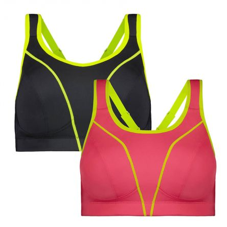 Compression Sports Bra - Premium Support - Flamingo, Raven Pack Product Image Front
