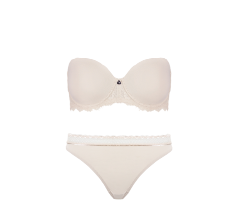 Strapless Thong Set Cafe Latte