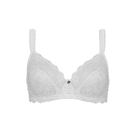 Enhanced Support Swirly Rose Bra White