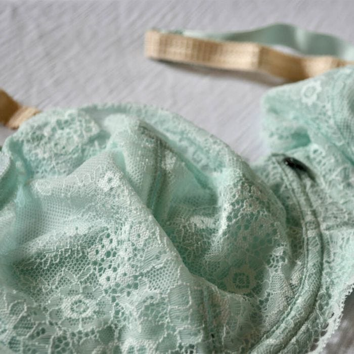 Full Lace Cup Peony Bra - Lite Support - Glacier Detail Image