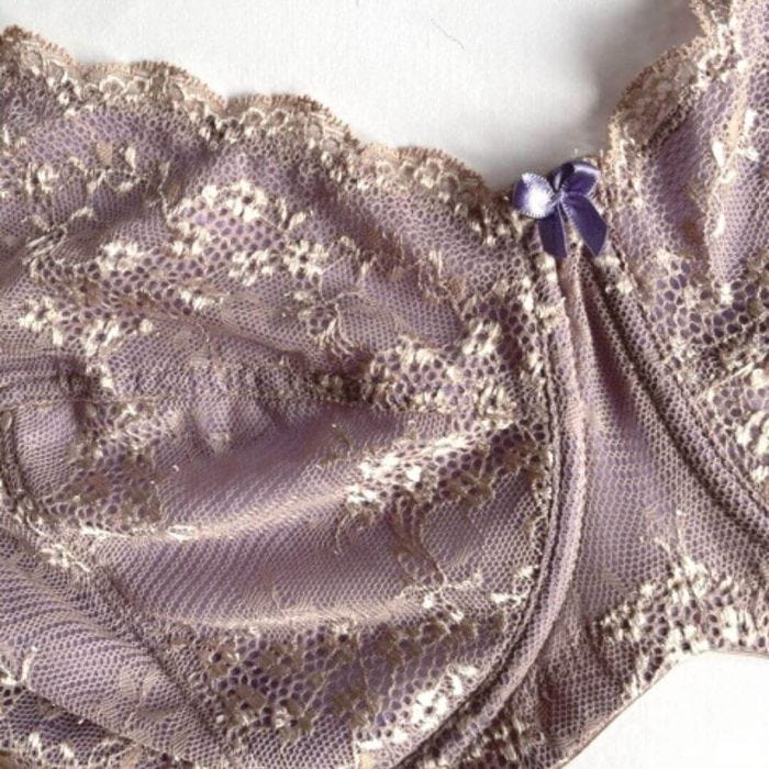 Underwire Contrast Lace Bra - Enhanced Support - Macaroon Detail Image