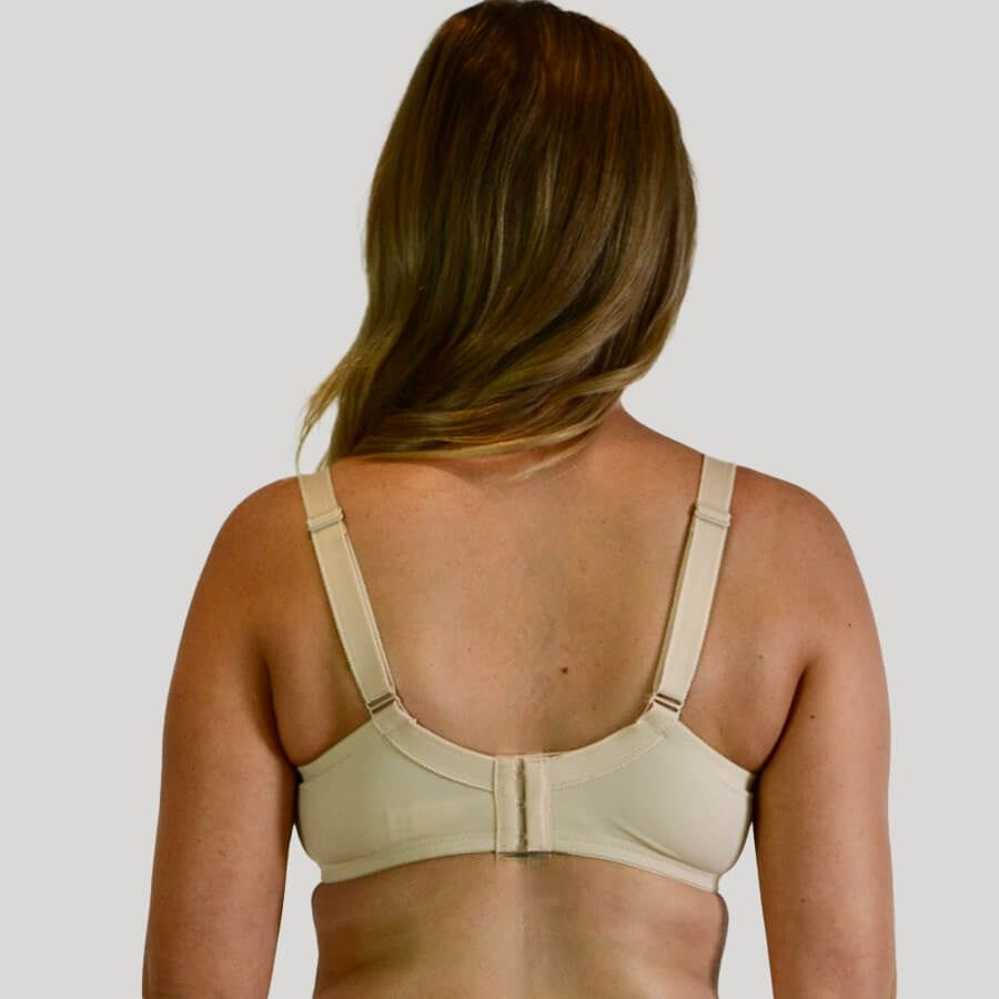 Model wearing Full Lace Cup Dahlia Bra - Enhanced Support - Almond back