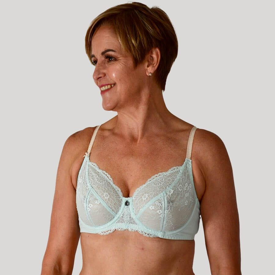Model wearing Full Lace Cup Peony Bra - Lite Support - Glacier Front