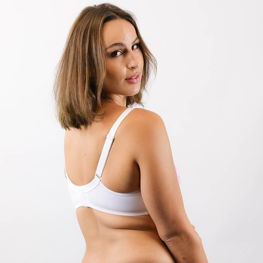 Model Wearing Underwire Bra - Enhanced Support - Signature Print in Ice Rose Back