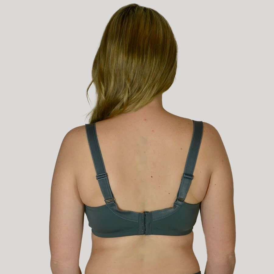 Model Wearing Underwire Bra - Enhanced Support - Signature Print in Pewter Rose Back