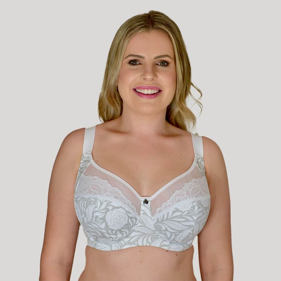 Model Wearing Underwire Madeline Bra - Premium Support - Signature Print in Ice Rose Front
