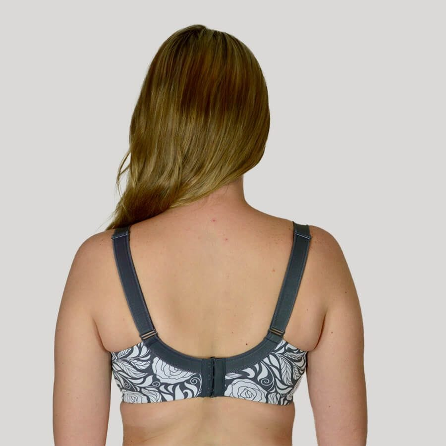 Model wearing Full Cup Madeleine Bra - Premium Support - Signature Print in Pewter Rose Back