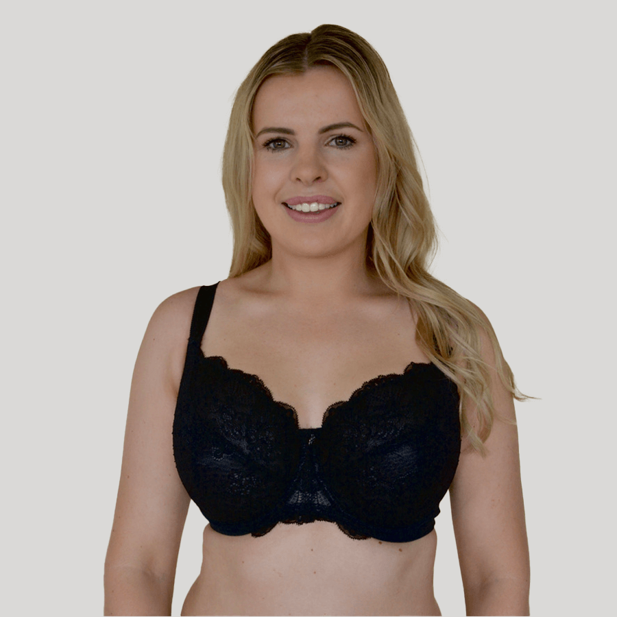 Model wearing Underwire Baroque Lace Bra - Enhanced Support - Black Front