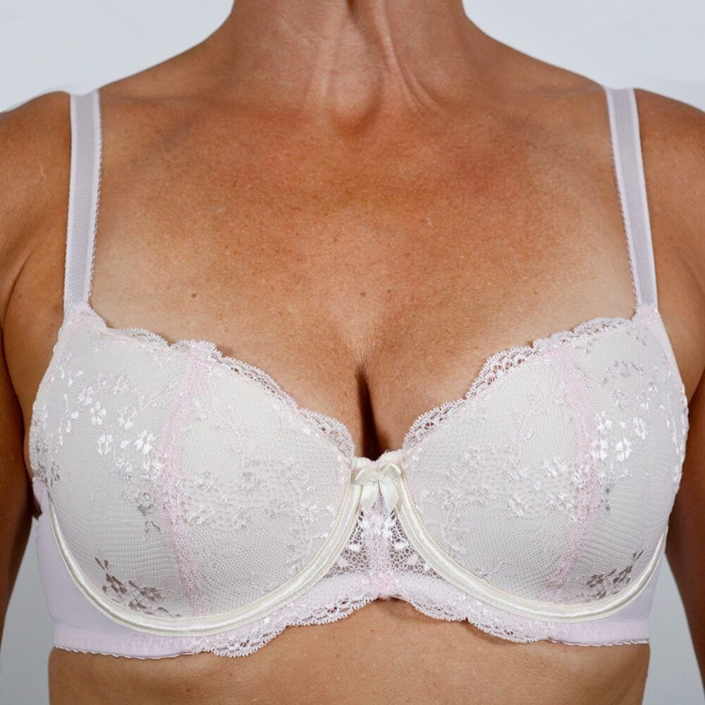 Model wearing Underwire Contrast Lace Bra - Lite Support - Pink Soda Front